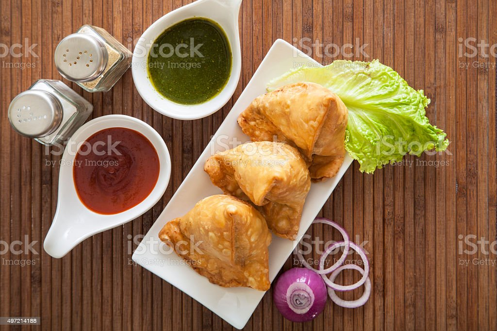 Samosas, Indian Snack stock photo