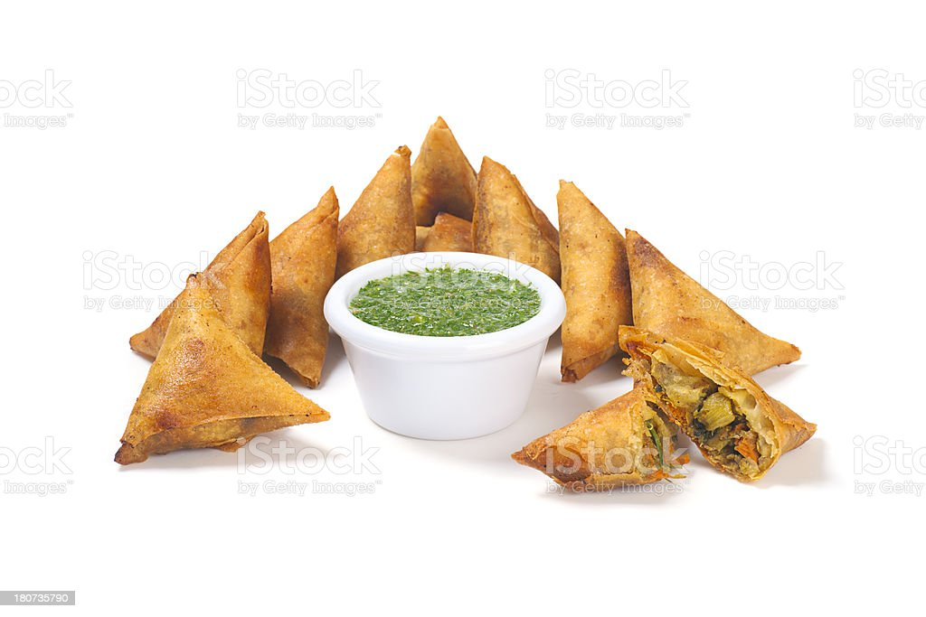 Samosas with Mint Dipping Sauce stock photo