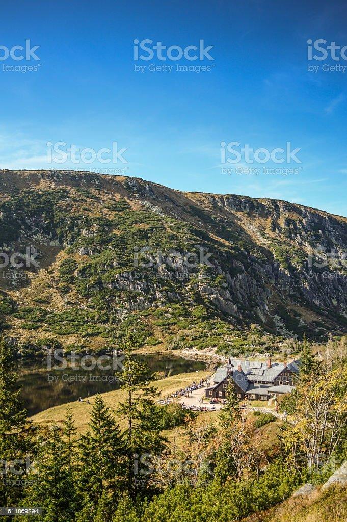 Samotnia Mountain Shelter stock photo