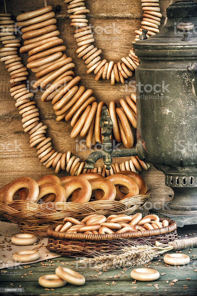 Samovar and bagels royalty-free stock photo
