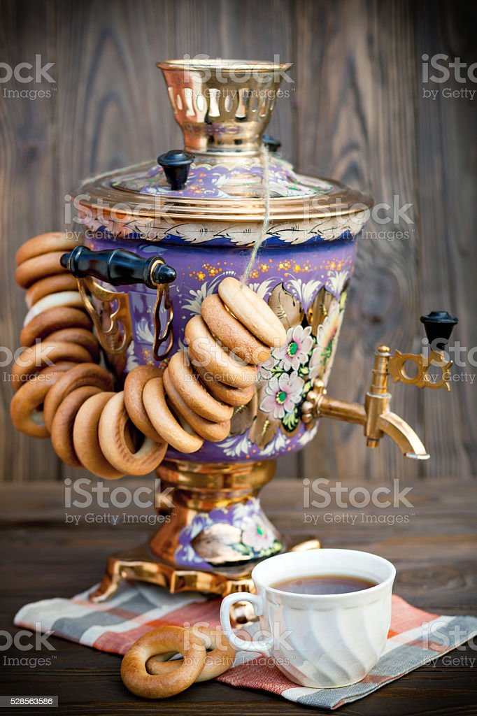 Samovar, bagels and cup of Tea stock photo