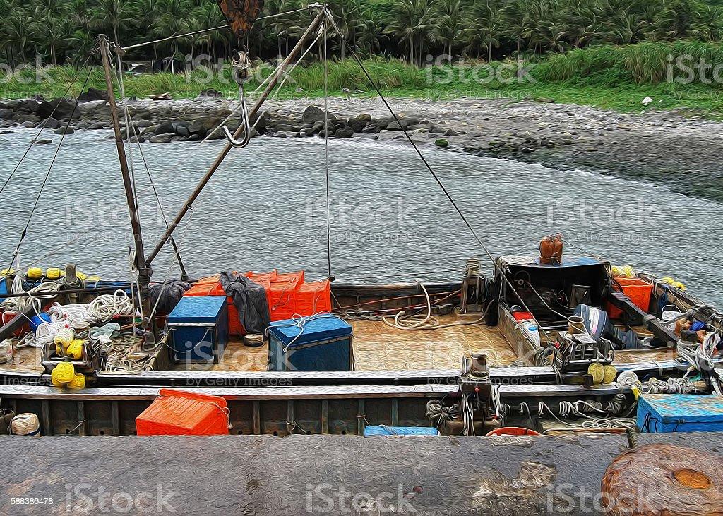 Sampan boat stock photo