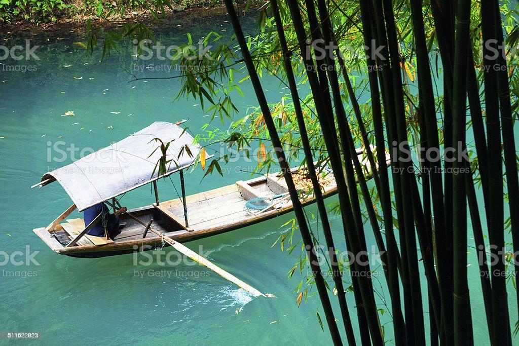 Sampan on the Yangtzee River stock photo