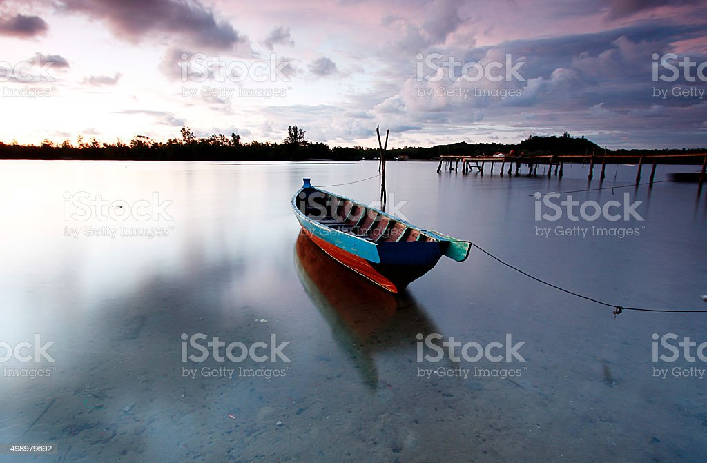 Sampan or Fishing boat stock photo