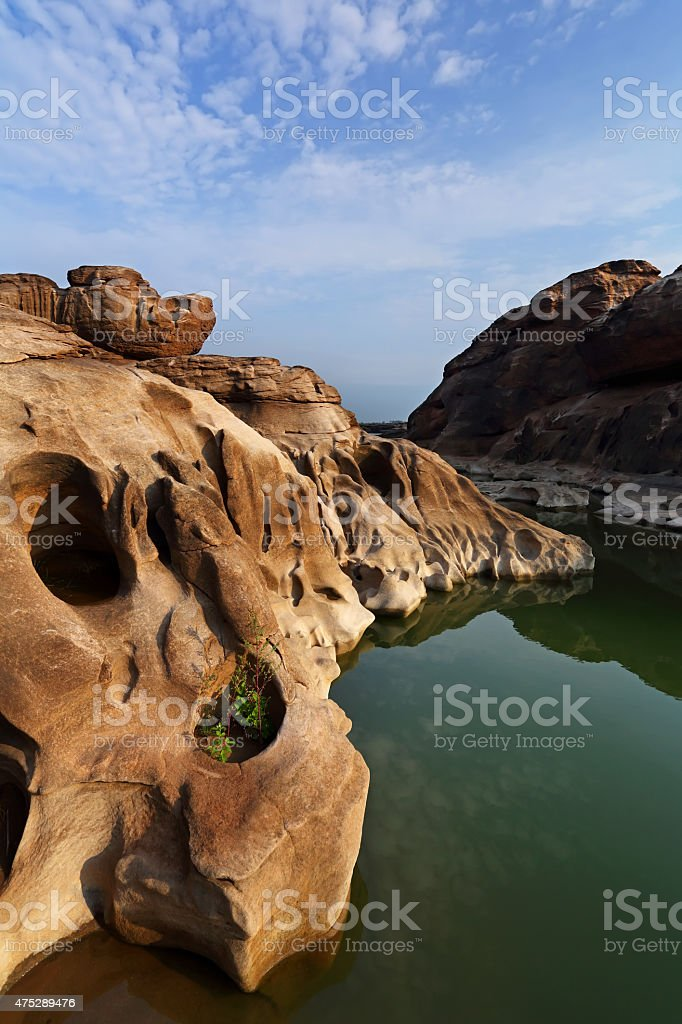 Sampanbok rock field ,grand canyon in Thailand stock photo