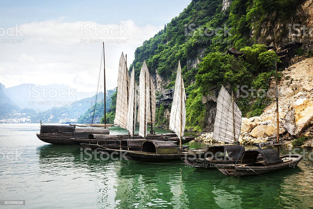 Sampans on the Yangtze River stock photo
