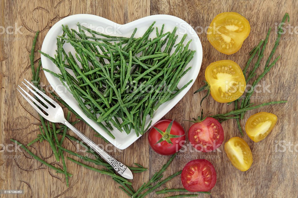 Samphire and Tomato Healthy Diet Food stock photo