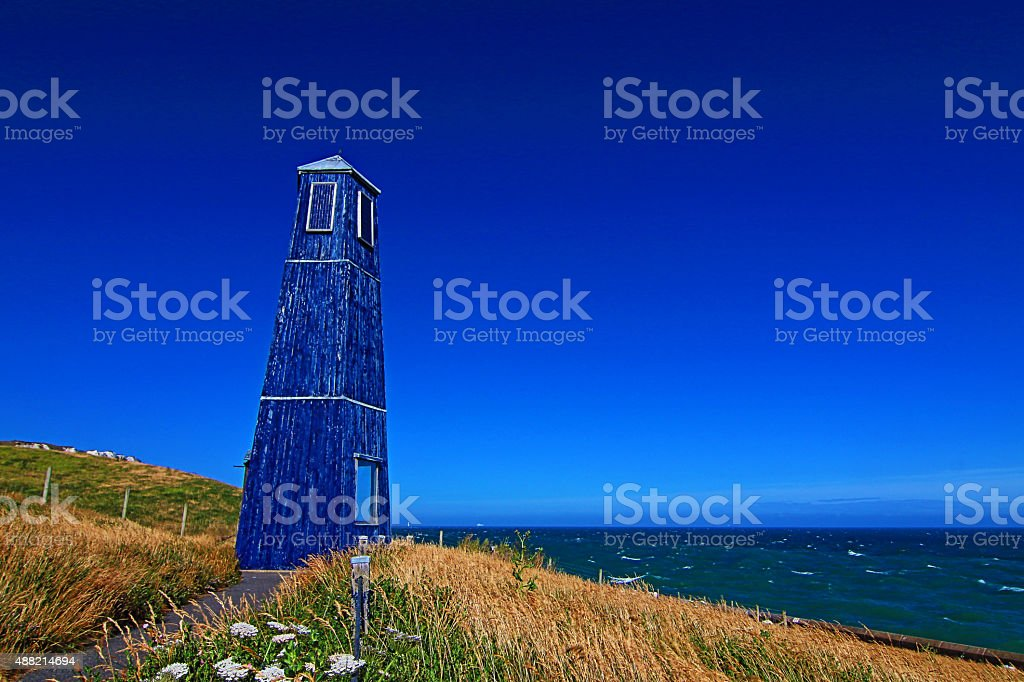 Samphire Hoe Tower along the White Cliffs of Dover stock photo
