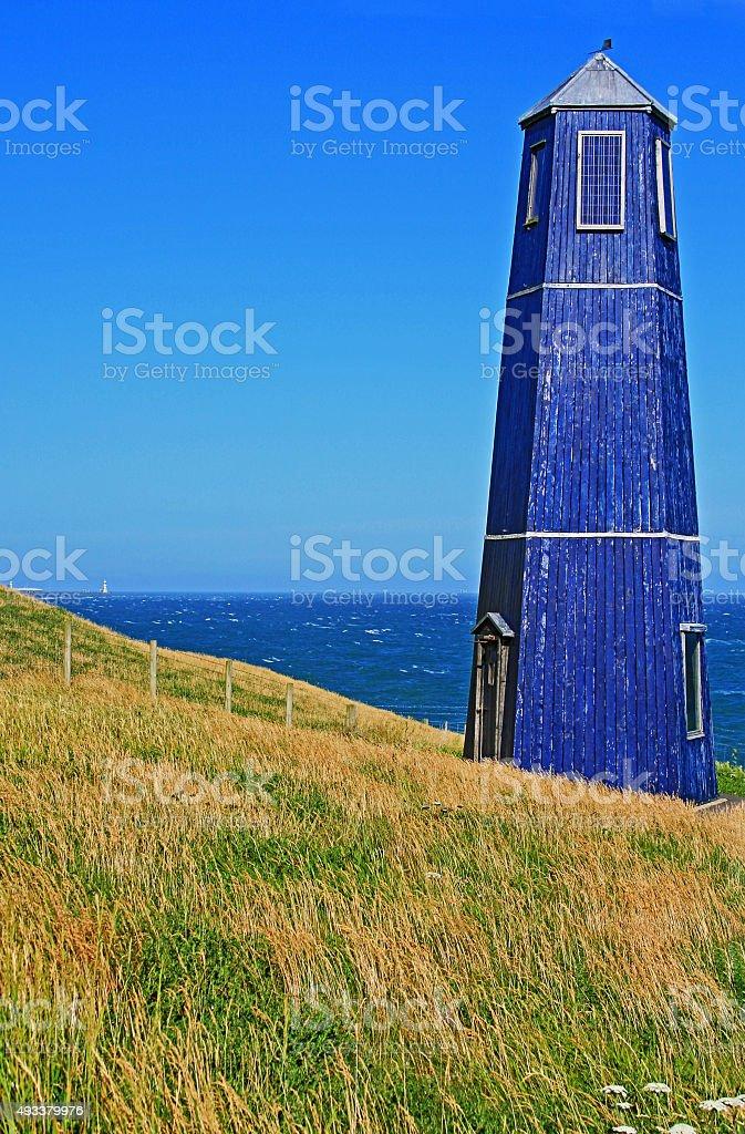 Samphire Hoe Tower seaside - vertical stock photo