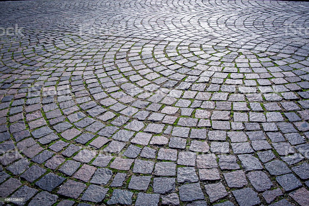 Sampietrini: Italian traditional paved urban road stock photo