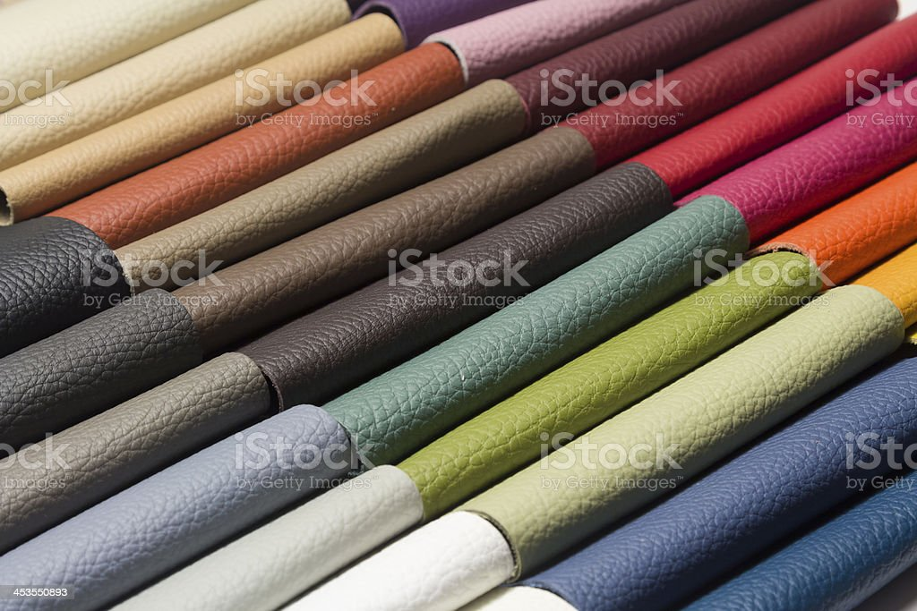 sample - a good quality leather in various colors stock photo
