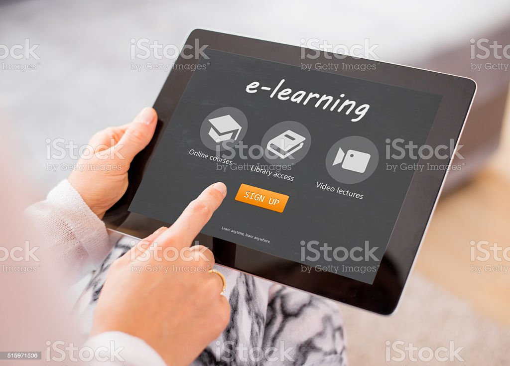 Sample e-learning website on tablet computer stock photo