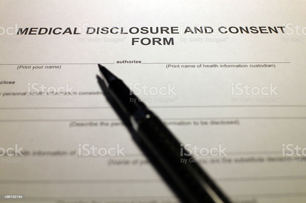 Sample Medical Consent Form stock photo