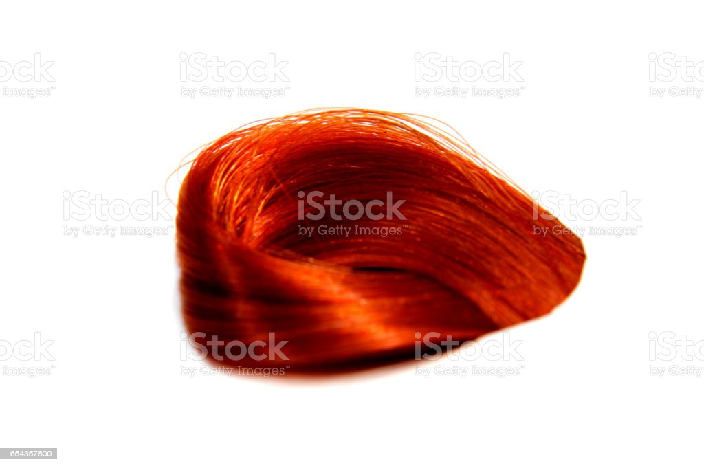 Sample of colorful hair on white background stock photo
