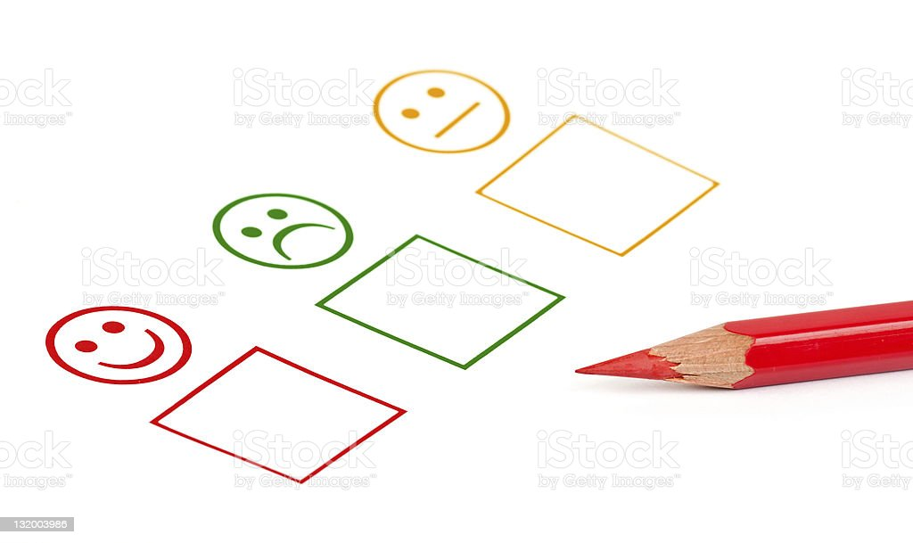 A sample of customer satisfaction survey with a red pencil royalty-free stock photo