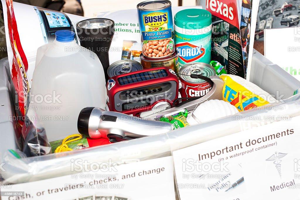 Sample of emergency prepardness items stock photo