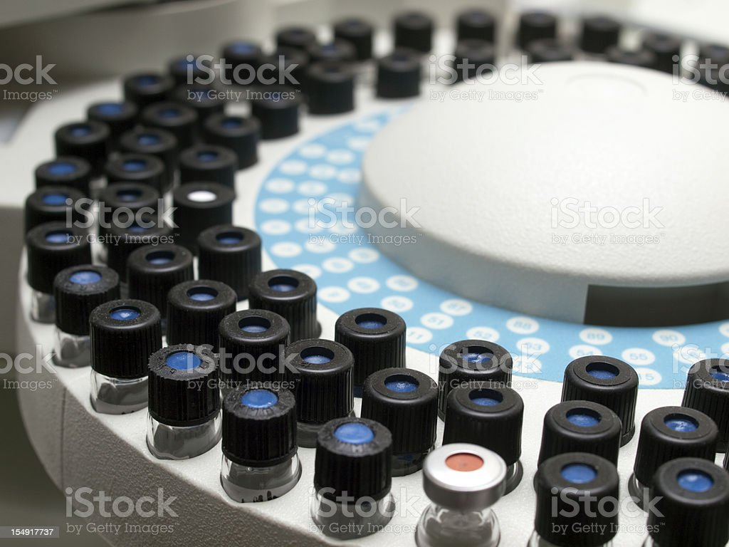 Sample Phials on a Gas Chromatograph stock photo