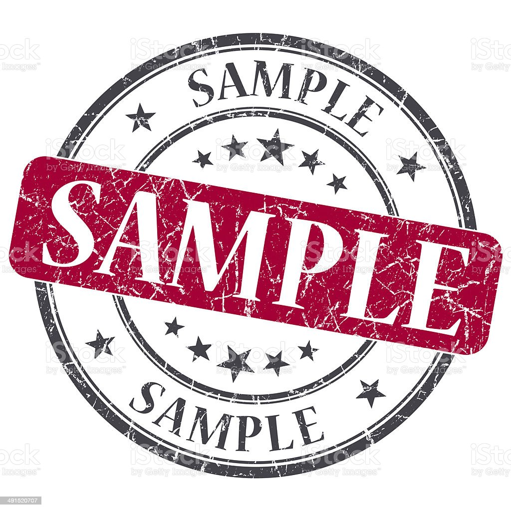 Sample red grunge round stamp on white background stock photo