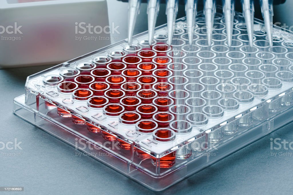 Sample tray partially filled with samples stock photo