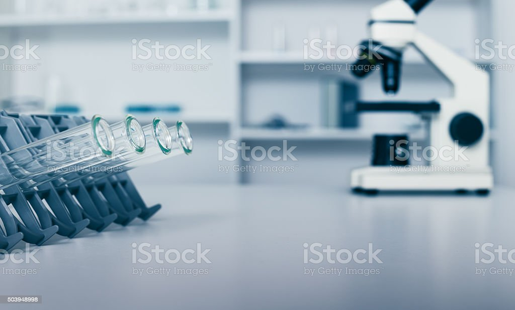 DNA samples are loaded plate for PCR analysis stock photo