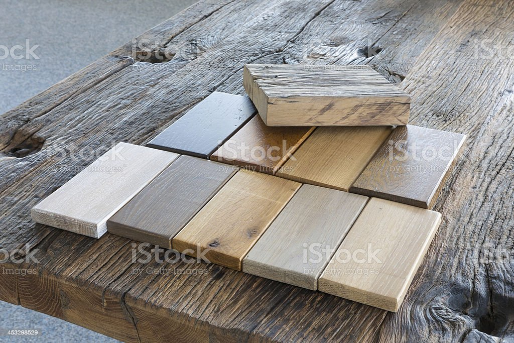 Samples from different kinds of wood in a furniture shop stock photo