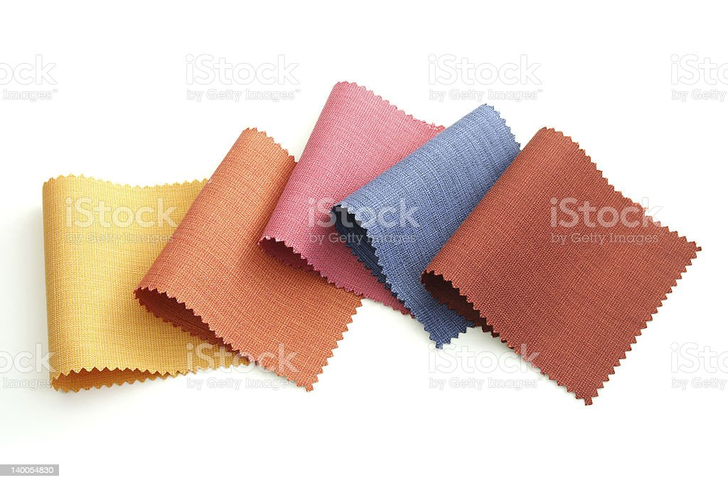 Samples of colored canvas fabric stock photo