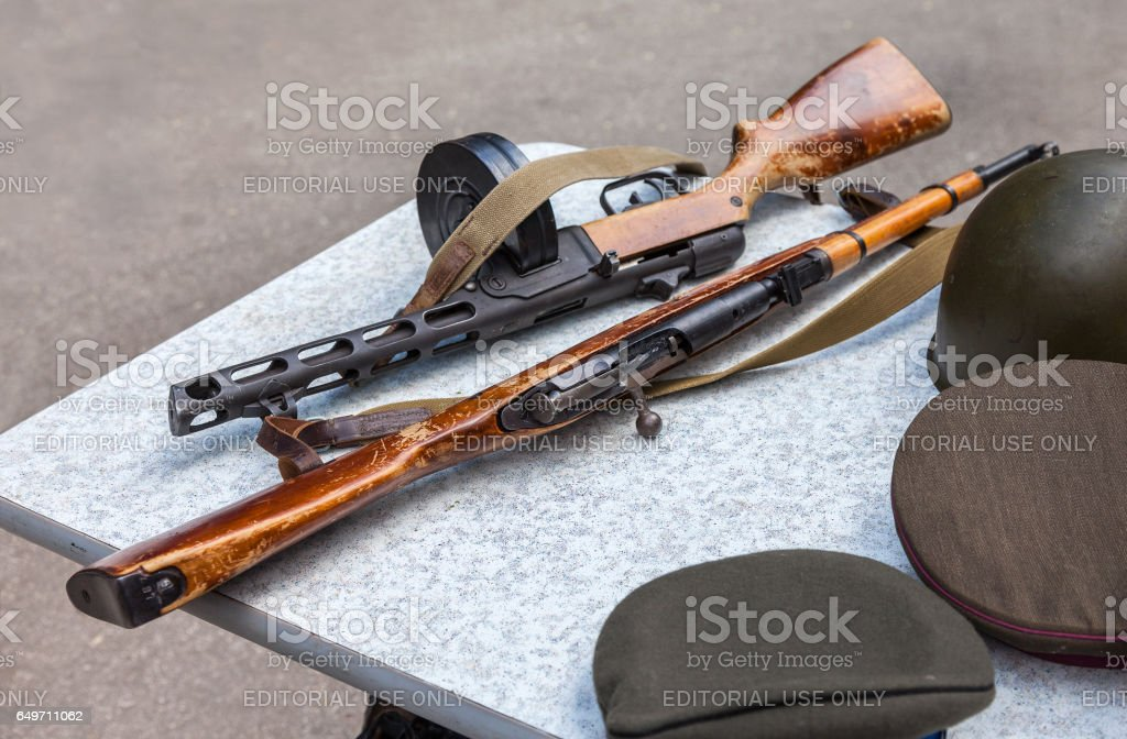 Samples of firearms during the Great Patriotic War stock photo