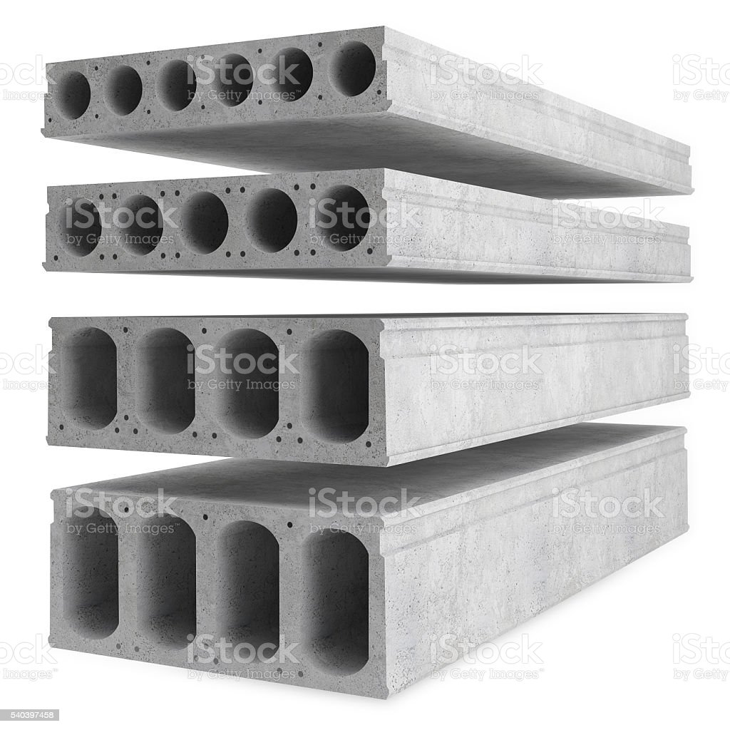 Samples of reinforced concrete floor slabs stock photo
