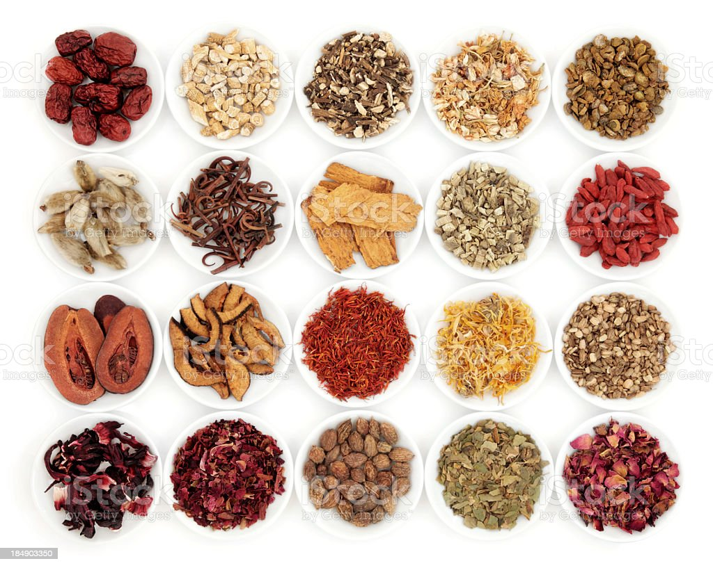Samples of traditional Chinese medicinal herbs stock photo