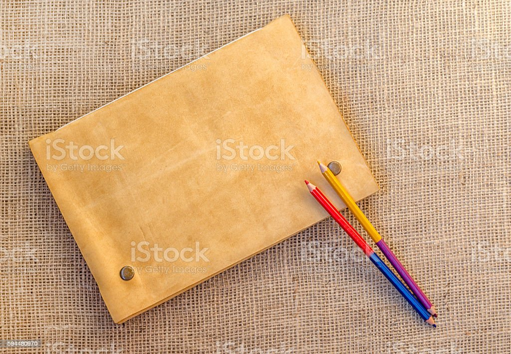 Sampling of stationery -  folder and pencils stock photo