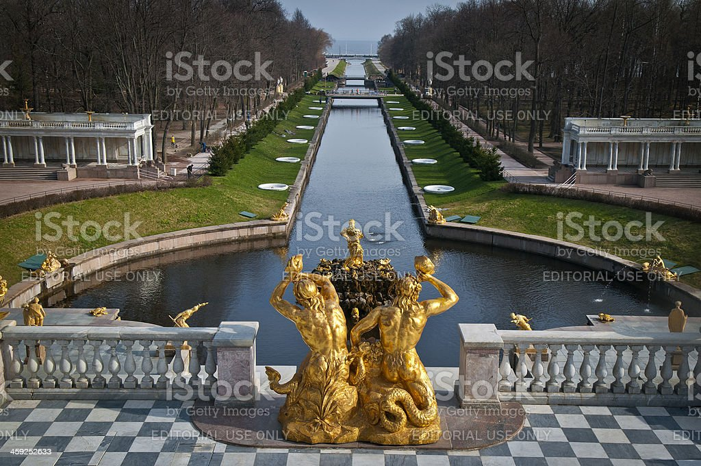 Samson Fountain and Sea Channel Peterhof Russia stock photo