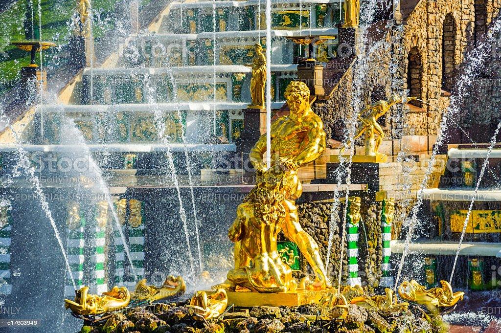 Samson fountain in Petergof stock photo