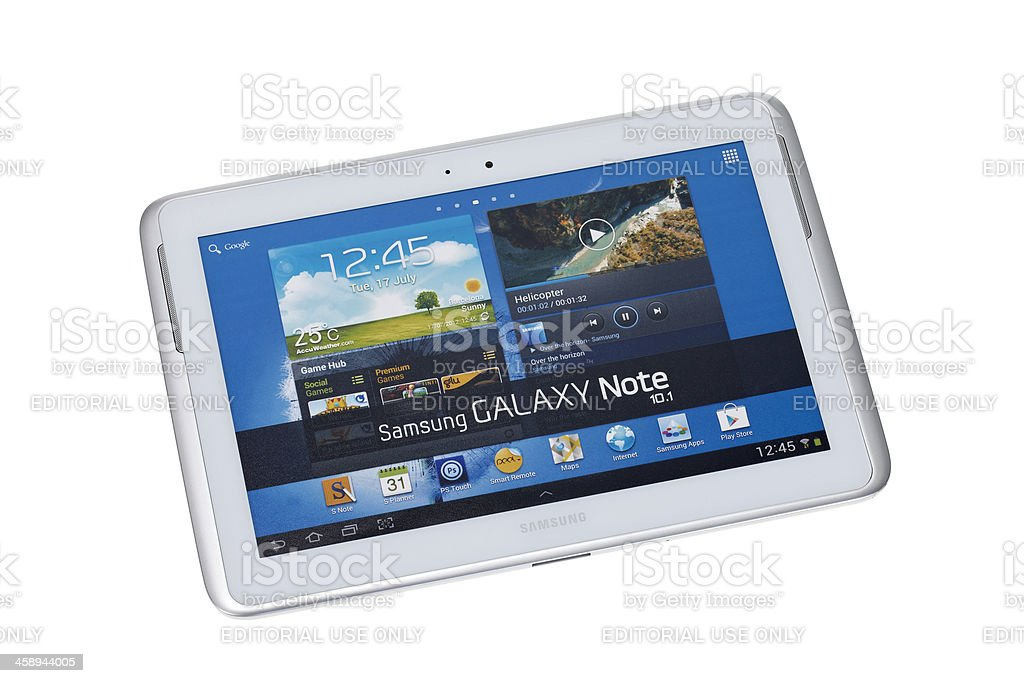 Samsung Galaxy Note 10.1 studio shot on white royalty-free stock photo