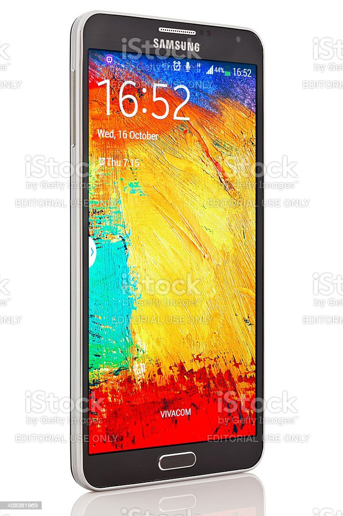 Samsung Galaxy Note 3 with clipping path royalty-free stock photo