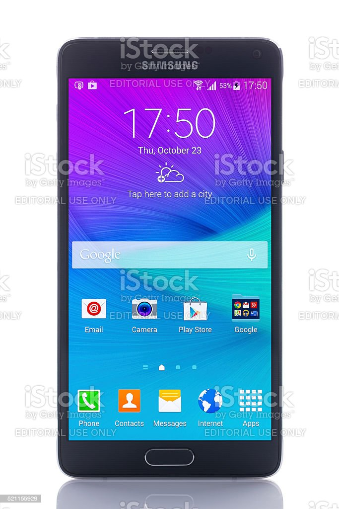 Samsung Galaxy Note 4 with Clipping path stock photo