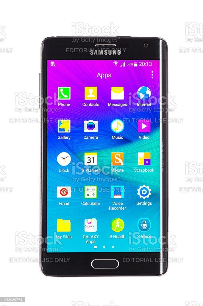 Samsung Galaxy Note Edge smartphone isolated stock photo