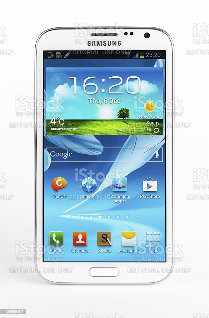 Samsung Galaxy Note II N7100 isolated on white stock photo
