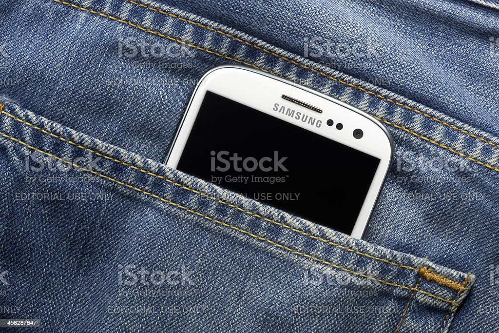 Samsung Galaxy S3 in Pocket stock photo