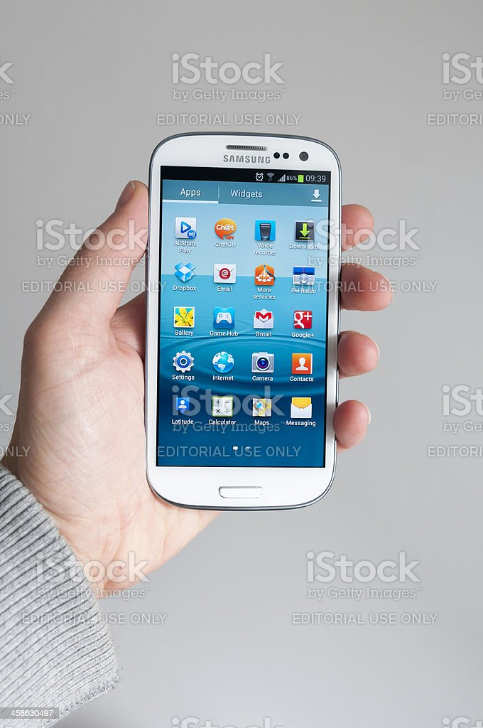 Samsung Galaxy S3 showing apps royalty-free stock photo