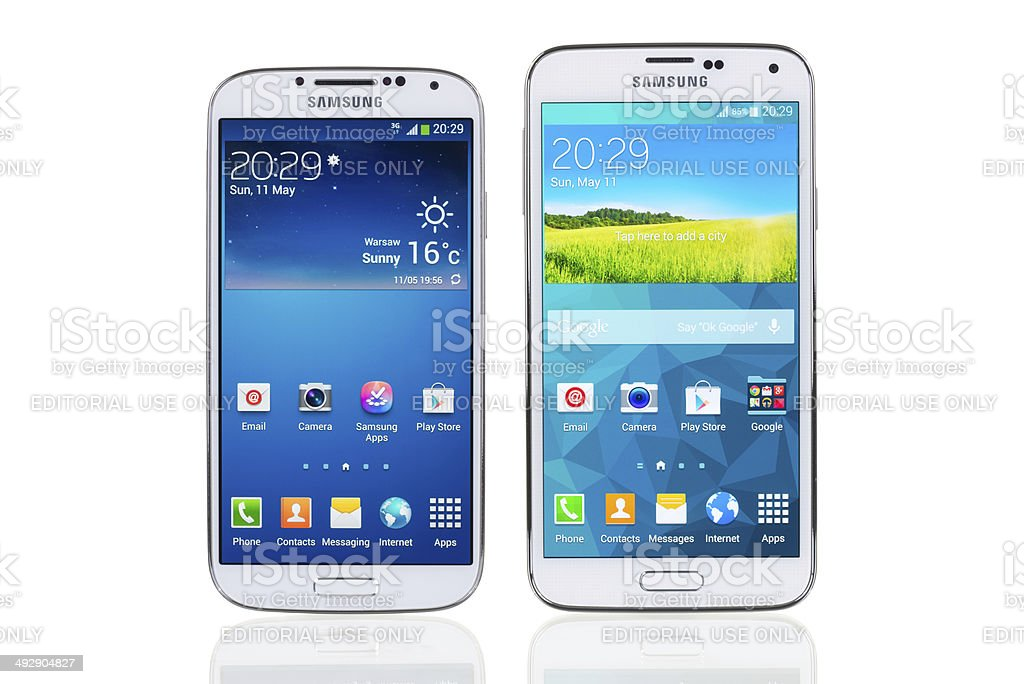 Samsung Galaxy S4 and S5 stock photo