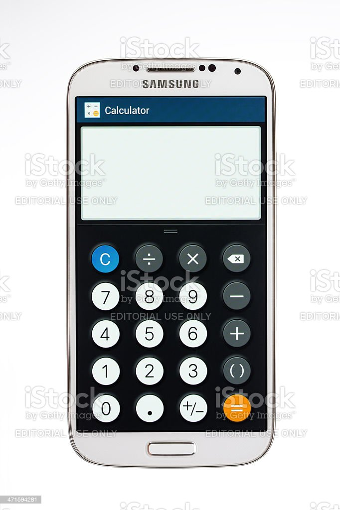 Samsung Galaxy S4 calculator,  isolated on white stock photo