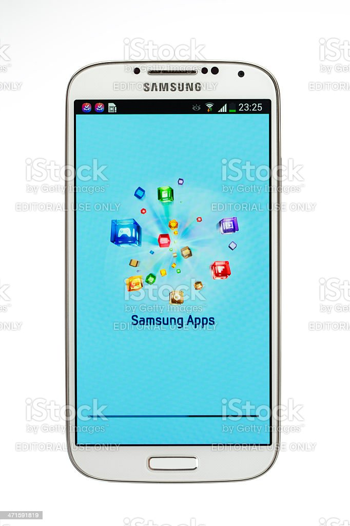 Samsung Galaxy S4,  isolated on white stock photo