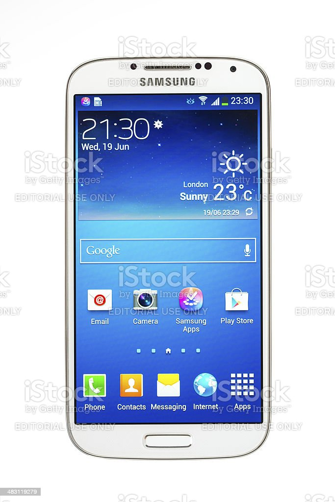 Samsung Galaxy S4,  isolated on white with 2 royalty-free stock photo