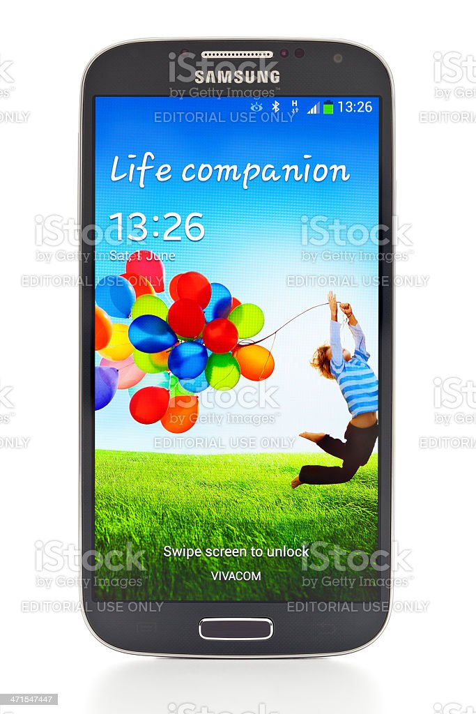 Samsung Galaxy S4 with clipping path stock photo