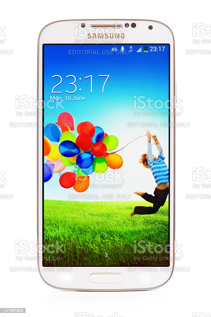Samsung Galaxy S4 with clipping path royalty-free stock photo