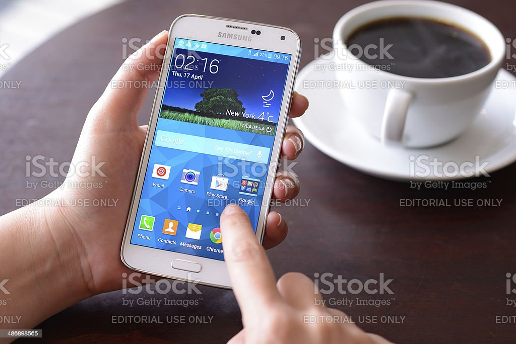Samsung Galaxy S5 smart phone stock photo
