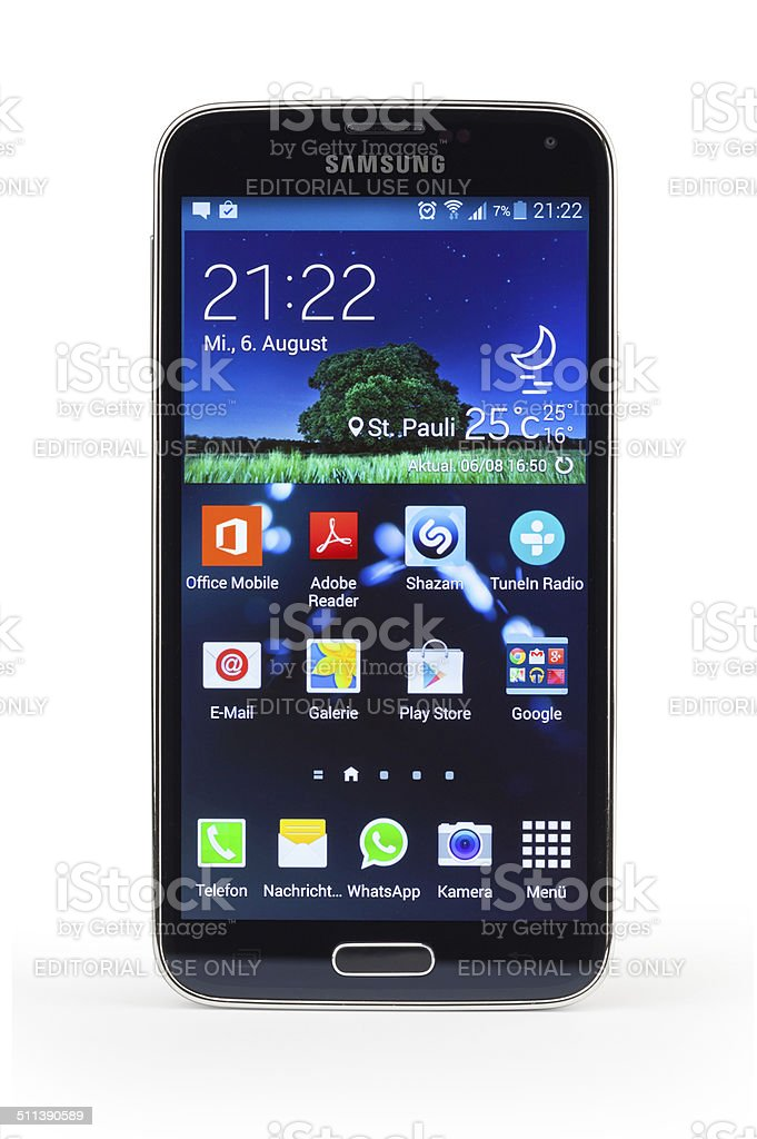 Samsung Galaxy S5 smartphone, isolated with home screen stock photo
