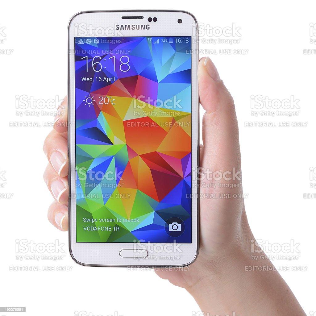 Samsung Galaxy S5 touchscreen smart phone stock photo
