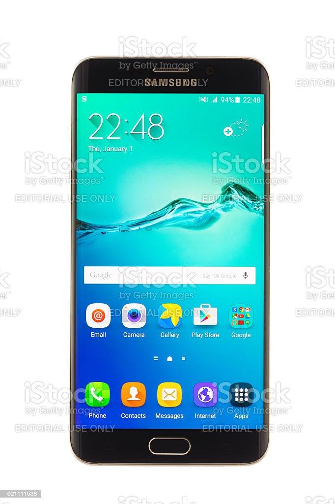 Varna, Bulgaria - October, 04, 2016: Samsung Galaxy S6 Edge+ stock photo