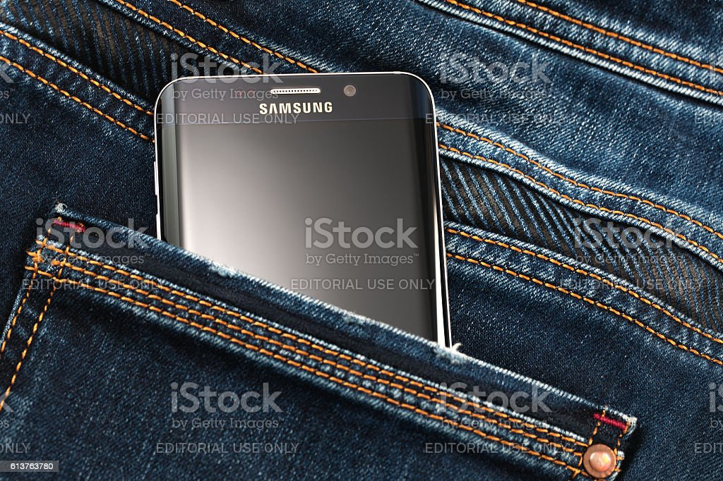 Varna, Bulgaria - October, 04,2016:Samsung Galaxy S6 Edge+ smartphone stock photo